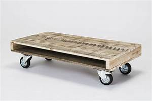 Pallet wood coffee tables on wheels by gasair studios for White coffee table with wheels