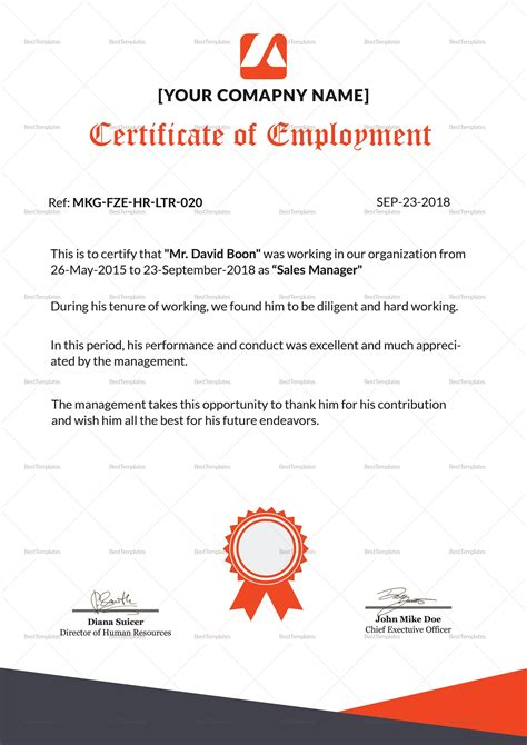 employee certificate sample picture termination