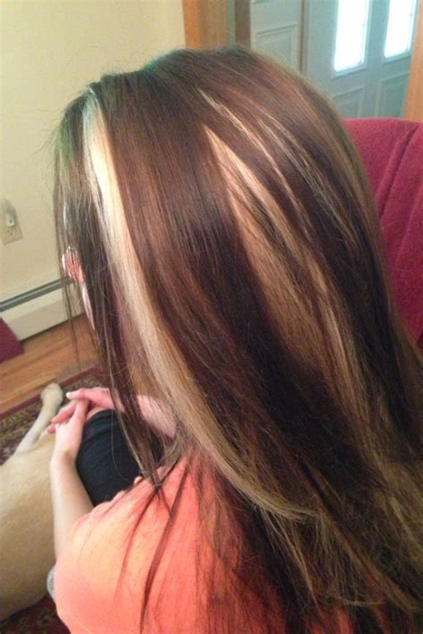 Red Peek A Boo Highlights On Dark Brown Hair Hairs