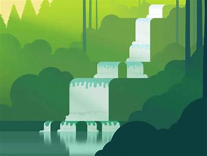 Waterfall Dribbble Pixel Flat Illustration V2 Nature