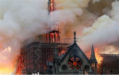 Dame Notre Fire Cathedral Smoke Paris Spire