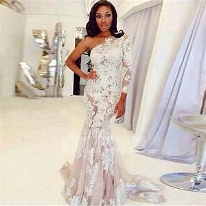 shop discount sexy lace one shoulder long sleeve sweep With one sleeve wedding dress