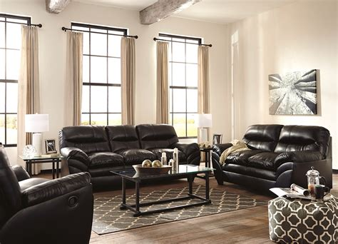 Tassler Black Bonded Leather Casual Sofa & Loveseat Living