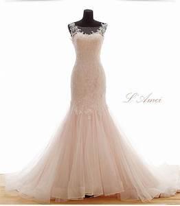 Beautiful classical mermaid blush soft pink lace wedding for Soft pink wedding dress