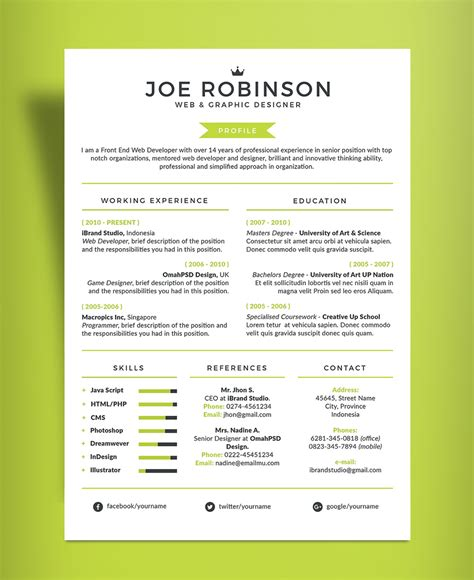 free professional resume cv design template in