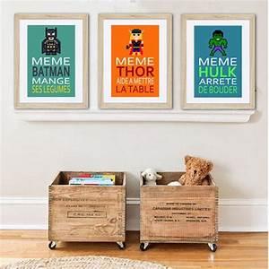 3 affiches superheros avec citation humoristique pour With salle de bain design avec citation murale décoration