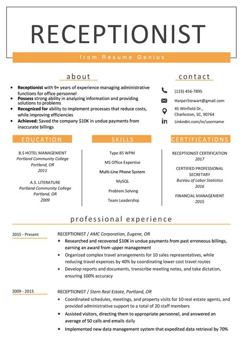 Resumes For Receptionist receptionist cover letter view exle sle