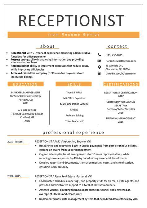 receptionist resume sample writing guide resume genius