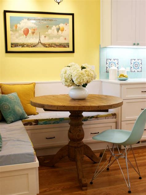 yellow breakfast nook  banquette seating hgtv
