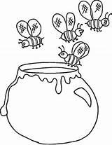 Honey Coloring Jar Bees Pot Flying Drawing Hunny Printable Getdrawings Getcolorings sketch template