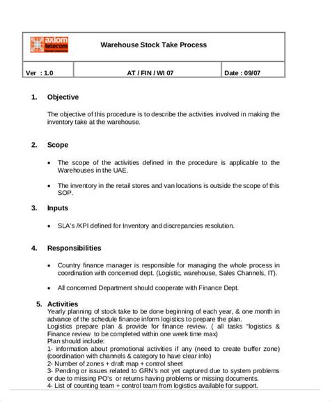 Warehouse Sop Template by 33 Sop Templates In Pdf Sle Templates