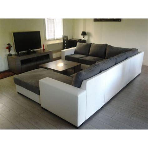 grand canap 233 d angle 6 places gris et blanc spacieux et confortable pas cher moderne