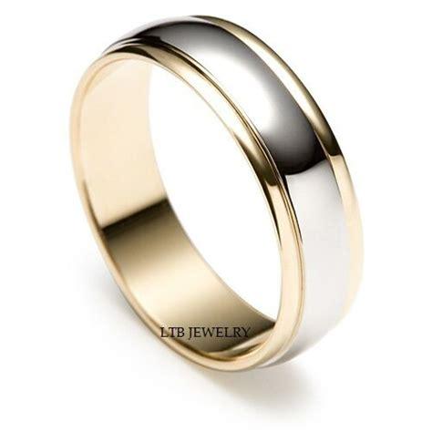 mens   tone gold wedding bands satin finish mm