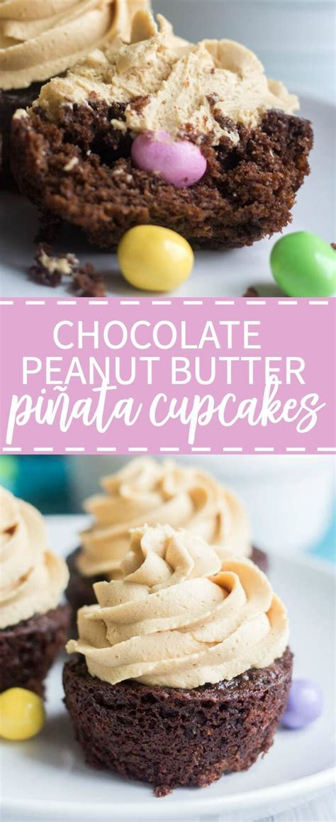 chocolate peanut butter pinata cupcakes  molly