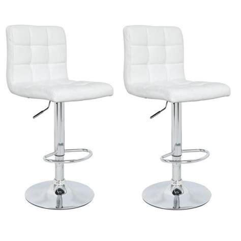 chaise de bar blanc crunch lot de 2 tabourets de bar en simili achat vente tabouret de bar structure en métal