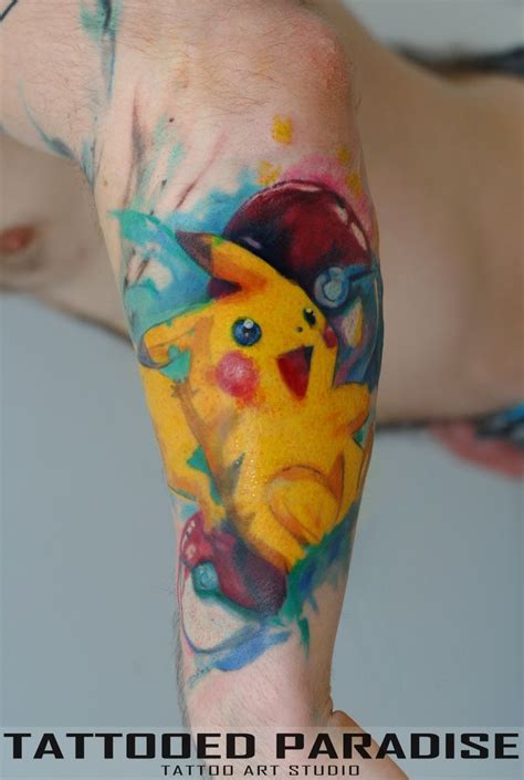 pikachu watercolor tattoo artist aleksandra katsan