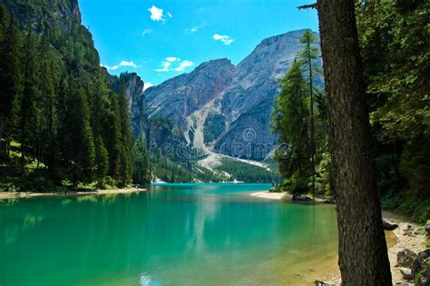 Braies Lake Dolomites Italy Stock Image Image Of