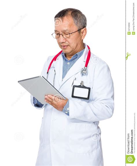 Doctor Tablett by Asian Doctor Use Of Tablet Stock Photo Image 52743056