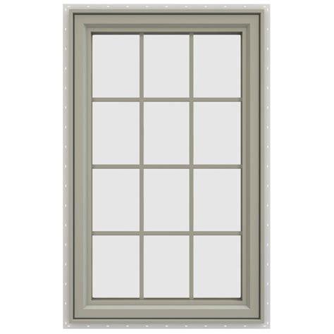 jeld wen        series  hand casement vinyl window  grids tan