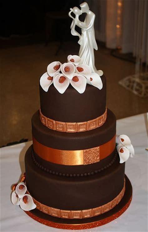 elegant  tier  chocolate wedding cake  ivory
