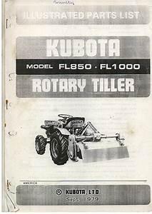 Kubota Rotary Tiller Fl850  U0026 Fl1000 Parts Manual