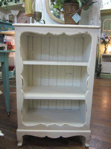 vintage shabby chic hand painted bookcase bead board