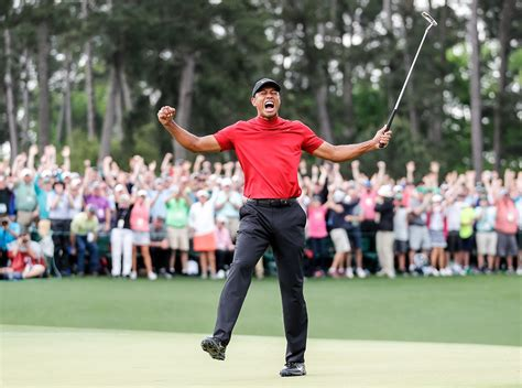 Tiger Woods celebrates winning the 2019 Masters during the ...