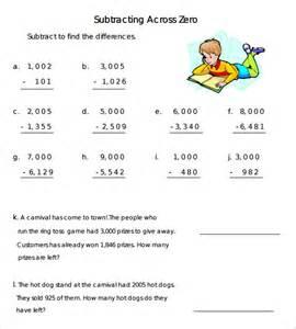 subtract across zeros worksheets subtracting across zeros worksheets chicochino worksheets and printables