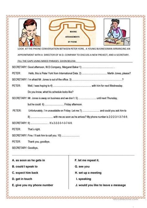 telephone conversation worksheets  images