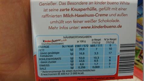 kinder bueno white kalorien naehrwerte produktdaten