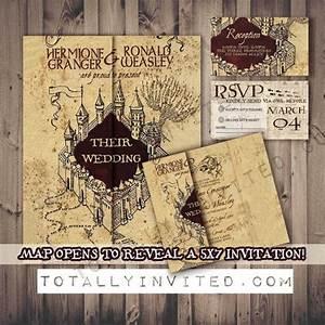 harry potter wedding invitation set marauder39s map With harry potter wedding invitations diy