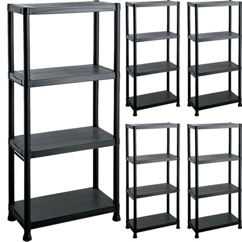 Shelving And Storage Units by 4 Tier Plastic Shelving Unit Storage Garage Racking Shelf