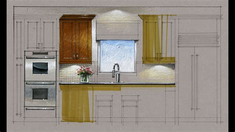 tutorial hand rendering kitchen elevation  youtube