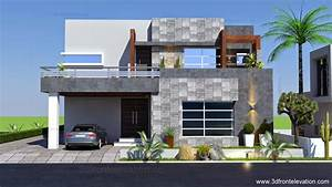 3D Front Elevation com: 1 Kanal Contemporary House Plan