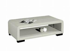 Table Basse Cuir : table basse en cuir italien vera blanc mobilier priv ~ Teatrodelosmanantiales.com Idées de Décoration