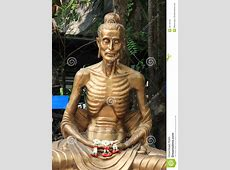 Starving Buddha Statue With Garland Stock Photo Image