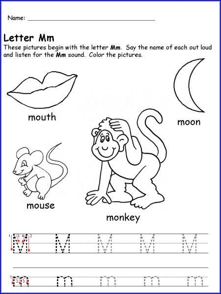 letter m worksheet for kindergarten alphabet letter m