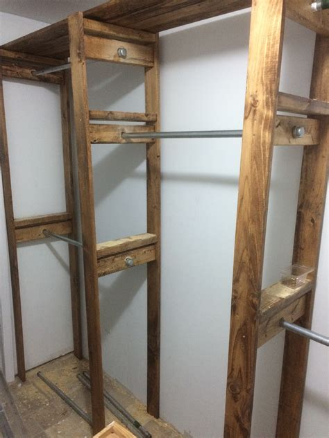 Wood Closet Systems Diy by White Custom Industrial Style Closet Diy Projects