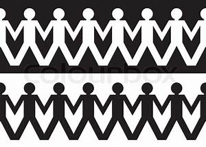 String Of Paper Chain Men In Black And White Ideal Border