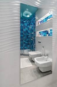 amenagement salle de bains sans fenetres 30 idees supers With salle de bain mosaique blanche