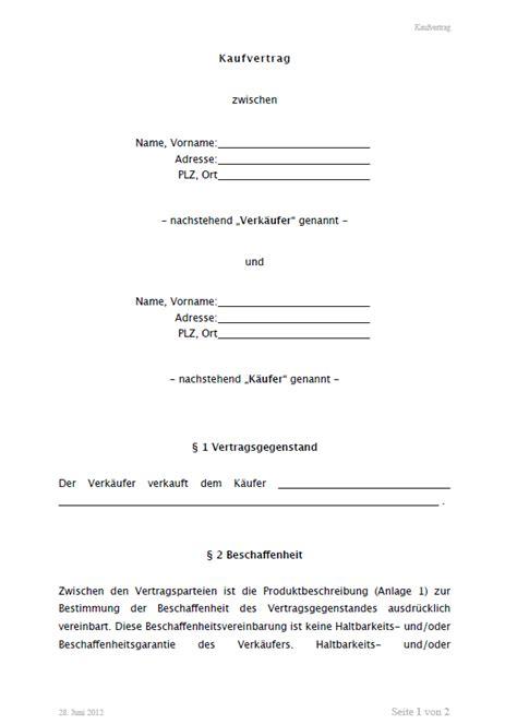 kaufvertrag allgemein vorlage zum