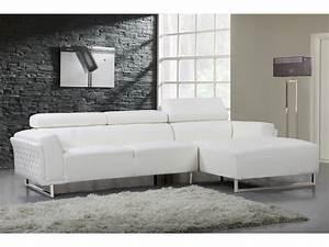 Canape Angle Cuir Blanc : canap d 39 angle cuir reconstitu pvc broadway 4 places ~ Farleysfitness.com Idées de Décoration