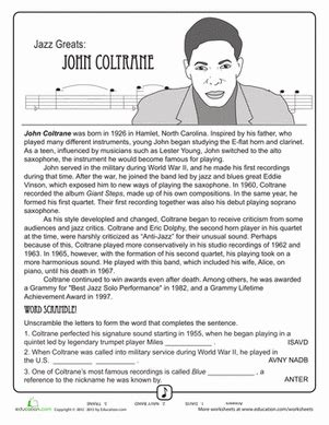 jazz greats john coltrane worksheet education com
