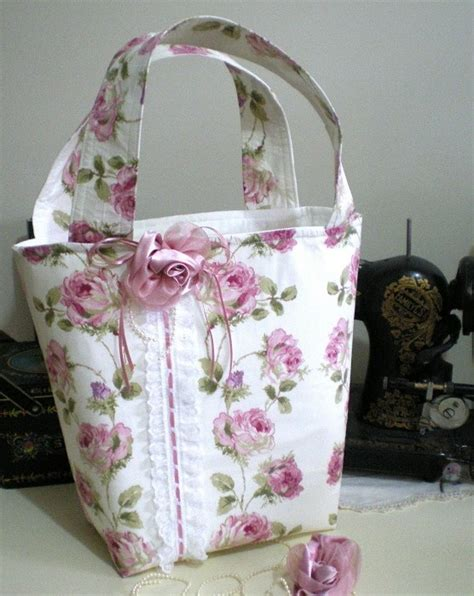 shabby roses tote bag  handmade  pretty clever