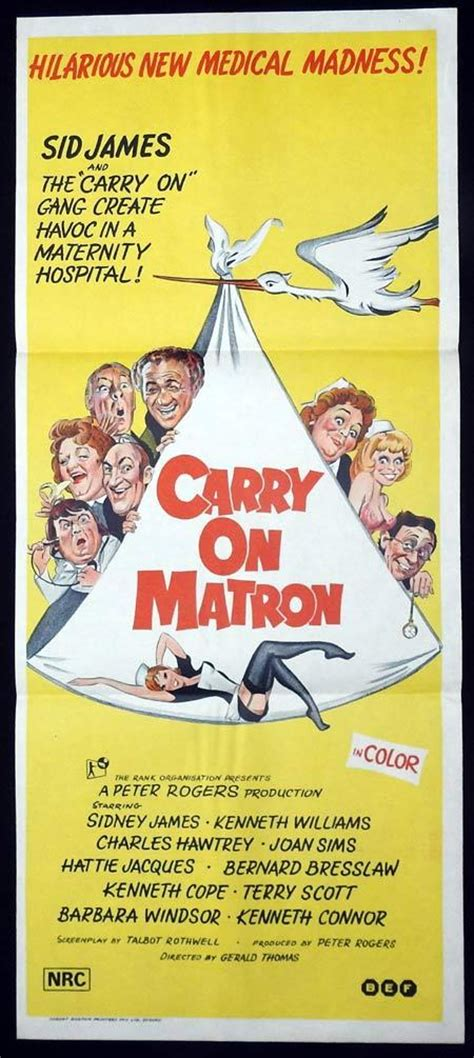 CARRY ON MATRON Original Daybill Movie poster Kenneth ...