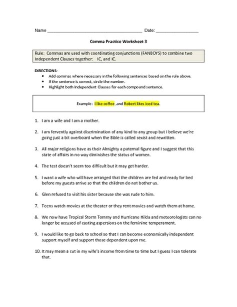 Comma Usage Worksheet The Best Worksheets Image Collection  Download And Share Worksheets