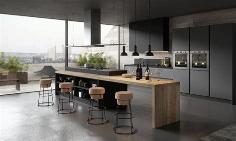 ilot cuisine bois cuisine moderne et design gris anthracite et bois