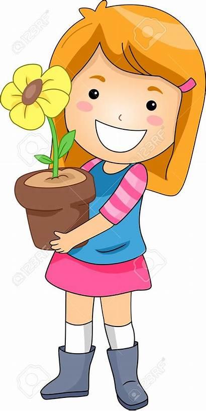 Clipart Child Flower Kid Pot Clip Holding