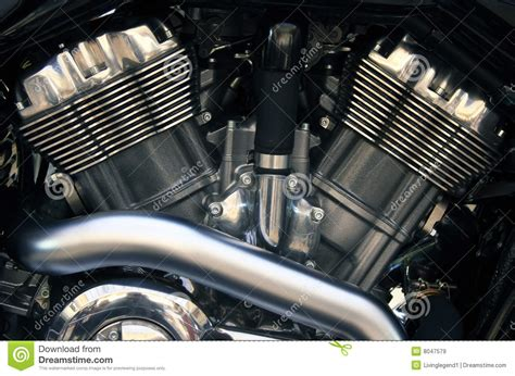 V Twin Motorcycle Engine Royalty Free Stock Images