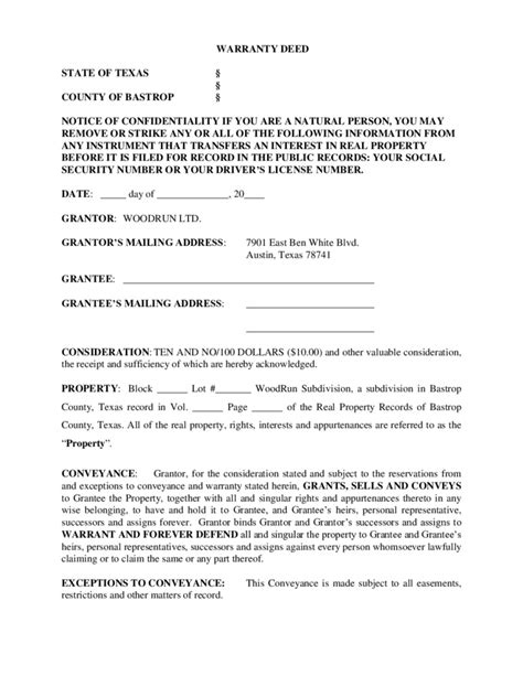 texas property deed form general warranty deed texas free download